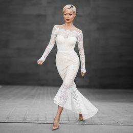 Wholesale Mermaid Mid Length Dress - Mermaid Dresses wedding guest dress Slash Long Length Dresses White Lace Elegant Long-Sleeved Fish Tail Slash Neck Dresses Free Shipping