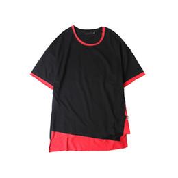 Wholesale Block Shirt - Side Ribbon Irregular Hi-end Fashion Mens T-shirt Short Sleeve 2017 Summer Color Block Hip Hop T Shirt Men Tee Shirts 2 Colors