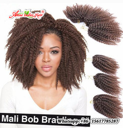 Wholesale 613 Kinky Curly Hair - Bohemian Style Mali bob Kinky Twist Hair Synthetic Jerry Curly Crochet Braid Hair Extensions 8inch Ombre 613 Bug MaliBob 3pcs