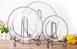Wholesale Table Decorations For Cheap - 13inch round cheap wedding cear silver gold glass beaded charger pates glass plate for wedding table decoration LLFA