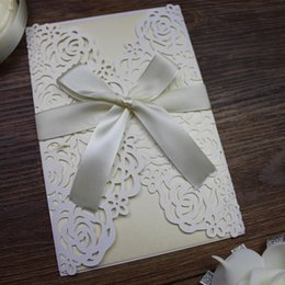 Wholesale Wholesalers For Card Invitations - New laser cut flower wed invitation card white rose card wed Invitation for Marriage Graduation Birthday Invitation Card