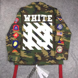 Wholesale Mens Long Military Coats - 2017 mens winter designer korean clothes coat kryptek camouflage camo army military jacket off white clothing