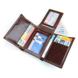 Wholesale Mens Rfid Wallets - Rfid Blocking Cowhide Leather Credit Card Wallets Capacity Credit Card Wallet Vintage Design 2017 New Mens Wallet Men's Purse Photo Holder