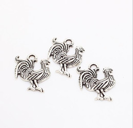 Wholesale antique mic - MIC 200pcs lot Vintage Small Cock Charms Antique Silver Trendy Zinc Alloy Fine Animal Cock Charms pendants DIY for Jewelry Making 18*21mm