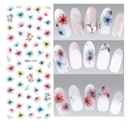 Wholesale arts elements - Water Transfer Nails Art Sticker Harajuku Elements Colorful Fantacy blurred Flowers Nail Wraps Sticker Manicura Decal