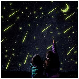 Wholesale Moon Sticker - Y0037 21*29cm Moon and Stars Luminous Stickers Home Decor Meteor Shower Wall Sticker for Kids Rooms Wall Decals
