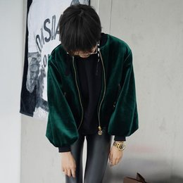 Wholesale Ladies Velvet Short Jackets - Wholesale- Women Velvet Bomber Jacket Short-Length New 2017 Ladies Emerald Green Velour Aviator Jackets Zippered Pockets Free Shipping