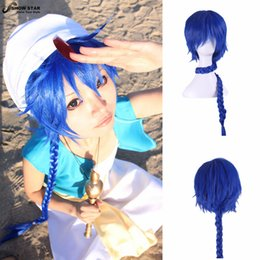 Wholesale Magi Aladdin - Hot Sale Cartoon Magic Flute Magi Aladdin MagiI Sinbad african american afro Wig Blue Long Braided Anime wigs Synthetic Cosplay women's
