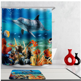 Wholesale Pvc Bathroom Curtain - Wholesale- New Arrival 3D Blue Polyester Waterproof PVC Underwater World Tropical Fish Shower Curtains Bath Screens Bathroom Tools