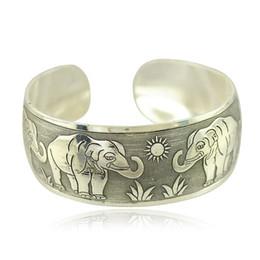 Wholesale Thailand Silver Set - 2017 fashion bracelet, open Thailand ancient Silver Carved Bangle Bracelet does not fade high quality silver bracelet, suitable for women ga