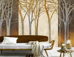 Wholesale Classic Beautiful Paintings - custom photo luxury 3d wallpaper Beautiful hand painted golden woods abstract branch background 3d wall paper for living rooms