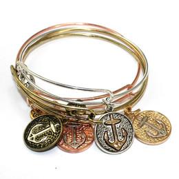 Wholesale Vintage 14k Bangle Bracelet - Heart vintage anchor viking cable bracelet for women silver rose gold vintage gold color usa expandable bangle wholesale free shipping DIY