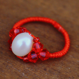 Wholesale Handmade Pearl Rings - National wind handmade jewelry transfer rice beads natural pearl ring Benming years red rope King Kong red crystal