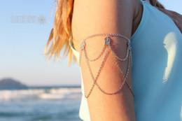 Wholesale Upper Arm Bracelets For Women - Bohemian beach Indian Upper Arm Charm Bracelets Silver Body Jewelry Gifts Hollow Leaves Drop Pendant Tassel Arm Chains Bracelets For Women