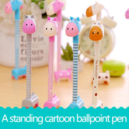 Wholesale Giraffe Pens Wholesale - Standing Giraffe Donkey Cute Cartoon Ballpoint Pens Ball Pen Animal Model