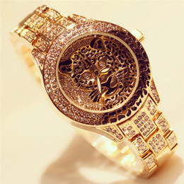 Wholesale Drill Ends - BS new high-end chain Watch full diamond female leopard silver full drill Watch Women Wristwatch Female Wrist Watch