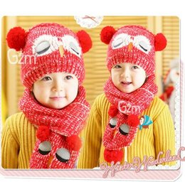 Wholesale Scarf Two Piece Set Pink - Autumn Winter New Baby Hats Knitted Cotton Cartoon Owl cap +Scarf Two Piece Sets 1-5T