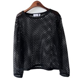 Wholesale Wholesale Basic Black Long Sleeve - Wholesale-Fashion Women's Ladies Misses Sexy Black Perspective Hollow Mesh Shirt Loose T-shirt Long Sleeve Sheer Slim Basic Tops