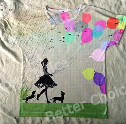 Wholesale Flower Balloon Animal - Wholesale- Track Ship+New Vintage Retro T-shirt Top Tee Little Flower Girl with Dachshund Dog Coloful Balloon Rain 0437