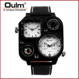 Wholesale Sport Watch Thermometer - OULM 1169 Sport Casual Men's Watch Quartz Movement With Thermometer And Compass Leather Strap Fashion Luxury Watches For Mens