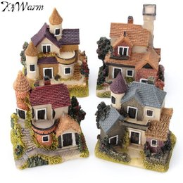 Wholesale Garden Fairy House - 1pcs Mini Resin House Miniature House Fairy Garden Micro Landscape Home Garden Decoration Resin Crafts 4 Styles Color Random