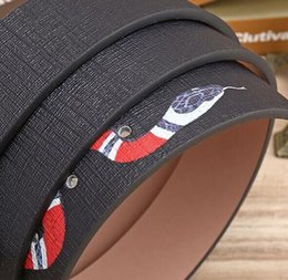 Wholesale Man Snake Pattern - Hot Black color Luxury High Quality Designer Belts Fashion snake animal pattern buckle belt mens womens belt ceinture G optional attribute
