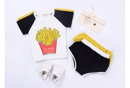 Wholesale Tracksuits Tshirts Boys Sets - ins Boys Girls Baby Childrens Clothing Sets Fries tshirts Shorts Set Summer Toddler Sweatshirts Tracksuits Outfits Boutique Clothes
