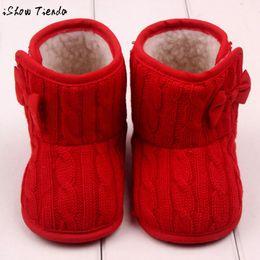 Wholesale Cute Crochet Boots - Wholesale- Baby First Walkers Cute Bowknot Crochet Soft Sole Plus Velvet Winter Warm Shoes Baby Boots #2713