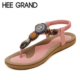 Wholesale leather band beads - Wholesale- HEE GRAND Summer Women Sandals 2016 String Bead Sweet Style Flip Flops Elastic Band Casual Flats Shoes Woman Size 35-40 XWZ777