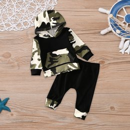Wholesale Camouflage Pants For Kids - New Arrival Boys Outfits Sets camouflage Long Sleeve Hooded Tops + Pants 2pcs Sets Kids Suits Outwear Clothing Sets For Baby Boy A7473