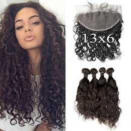 Wholesale Cambodian Wavy Hair - 13x6 Wet And Wavy Lace Frontal Closure With 4 Bundles Malaysian Water Wave Virgin Hair With Full Frontal Lace Closure G-EASY
