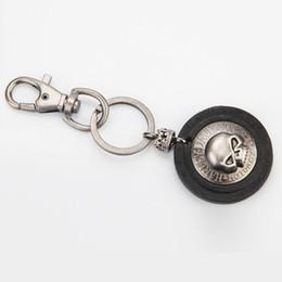 Wholesale Cars Jeans - Skull Antique Design Leather Keychain - Waist Key Holder Fob Chain Jeans Accessories - Fashion Punk Bag Pendant