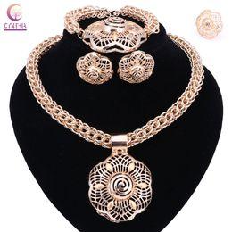 Wholesale Wedding Jewery - Hot Sale Dubai Gold Color Jewelry Sets Women Wedding Fashion Jewery Sets Women Necklace Jewelry Sets