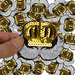 Wholesale Crown Patches - Crown wing badge patches for clothing iron Sequined diy patch applique iron on patches sewing accessories badges on clothes bags