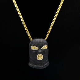 Wholesale Silver Mask Charms - Hip Hop CSGO Pendant Necklace Mens Punk Style Gold Silver Plated Black Mask Head Charm Pendant High Quality