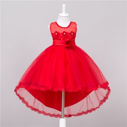 Wholesale Trumpet Mermaid Style Ball Dress - Kids Girls Lace Dresses 2017 Baby Girl Bridesmaid Long Tail Dress Infant Princess Tulle Bow Wedding Dress for Party Children Clothing S830