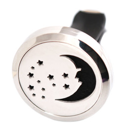 Wholesale Moon Pads - Star and Moon 30mm Aromatherapy Essential Oil surgical Stainless Steel Pendant Perfume Diffuser Car Lockets Include 50pcs Felt Pads