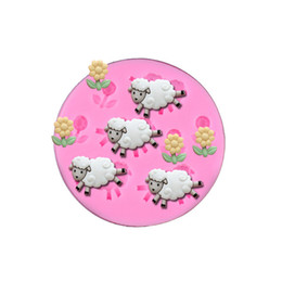 Wholesale Silicone Sheep - Sheep and flower shape Fondant Cake Mould Food Grade Liquid Silicone Mold Cake Decoration Baking Tool Kitchecn Accessories