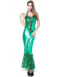 Wholesale Sea Green Dresses - Sexy Sea Siren costumes Green full length stretch foil lame long dress with seaweed inspired ruffles halter Gown