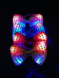 Wholesale Tie Up Toys - 8 Colors LED Bow Tie Sequins Bowknot Flashing Tie Light up Toys Party Decoration Supplies For Kids Adult