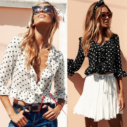 Wholesale Dot Shirt Women - 2017 Summer White Chiffon Women Blouses V Neck Sexy Tops Femme Wave Butterfly Sleeve Slim Tops Polka Dot Ruffle Women's Blouse Shirts FS1912