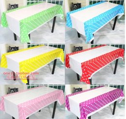 Wholesale Dot Tablecloth - Wholesale-Colorful Polka Dots Plastic Table Cover tablecloth for Kids Birthday Party Decoration Baby Shower Decoration Supplies