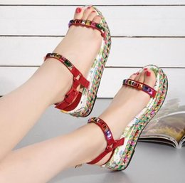 Wholesale European Fashion Girls Sandals - Girls Brand European 2017 Summer Autumn Shoes Genuine Leather Rivets High Heel Wedge Sandals Fashion Woman's Platform Shoes ML2810-7