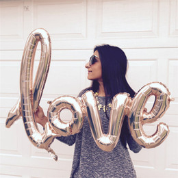 Wholesale Letter Balloons Love - Ligatures Love Champagne Red Balloons Aluminium Foil Helium Balloons Birthday Wedding Valentine'S Day Party Room Wall Decoration