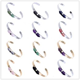amethyst crystal points Promo Codes - Trendy hexagon prism Natural stone Quartz Cuff Bangles Women bullet point Amethyst Crystal Agate Bracelets Various colors Gold Silver Plated