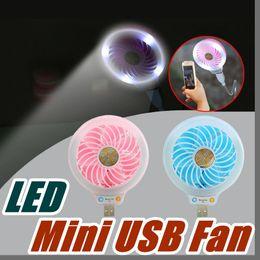 Wholesale Small Battery Usb - 2017 Style Mini portable Small USB Led fan Without battery USB small fans luminous night light beauty fill light multi-purpose type B-USB