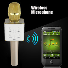 Wholesale Usb Conference Microphone - Mini Wireless Microphone Q7 Home ktv karaoke player handheld bluetooth speaker stereo Support USB Stick iphone IOS Android Smartphone music