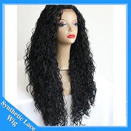 Wholesale Long Lace Front Heat Wig - Japanese Hair Heat Resistant Fiber Long Black Curly Synthetic Lace Front Wigs Afro Kinky Curly Synthetic Wigs for Black Women