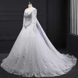 Wholesale Long Sexy Pink Tube Top - Long Sleeve Bandage Tube Top Crystal Luxury Wedding Dresses Appliques Beaded Wedding Gowns 2017 Custom made