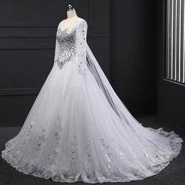 Wholesale Sequin Tube Wedding Dress - Long Sleeve Bandage Tube Top Crystal Luxury Wedding Dresses Appliques Beaded Wedding Gowns 2017 Custom made